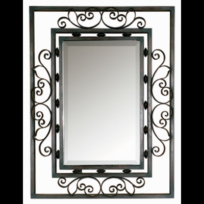 black spanish mirror hand forged metal frame finished in distressed aged black with chestnut brown undertones mirror has 1 14 bevel mirror size